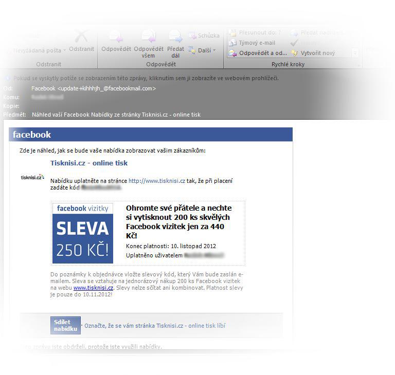 Facebook vizitky sleva 250 Kč